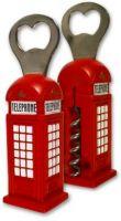 Telephone box bottle opener